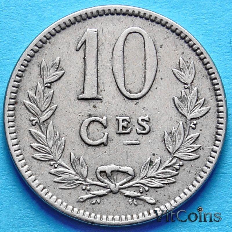 Монета Люксембурга 10 сантим 1924 год.