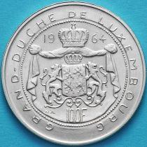 Люксембург 100 франков 1964 год. Великий герцог Жан. Серебро.