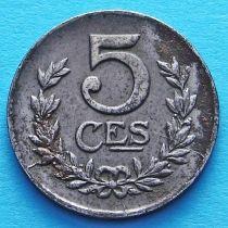 Люксембург 5 сантим 1918 год.