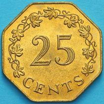 Мальта 25 центов 1975 год. Первая годовщина Республики.