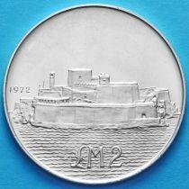 Мальта 2 фунта 1972 год. Форт Сант-Анджело. Серебро.