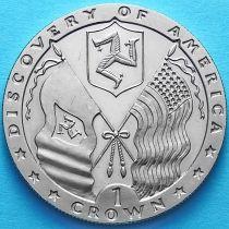 Остров Мэн 1 крона 1992 год. Флаги острова Мэн и США.