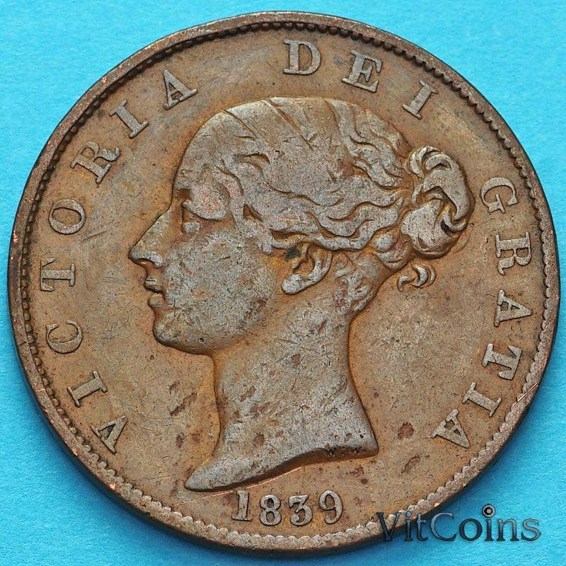 Монета Остров Мэн 1/2 пенни 1839 год. №1