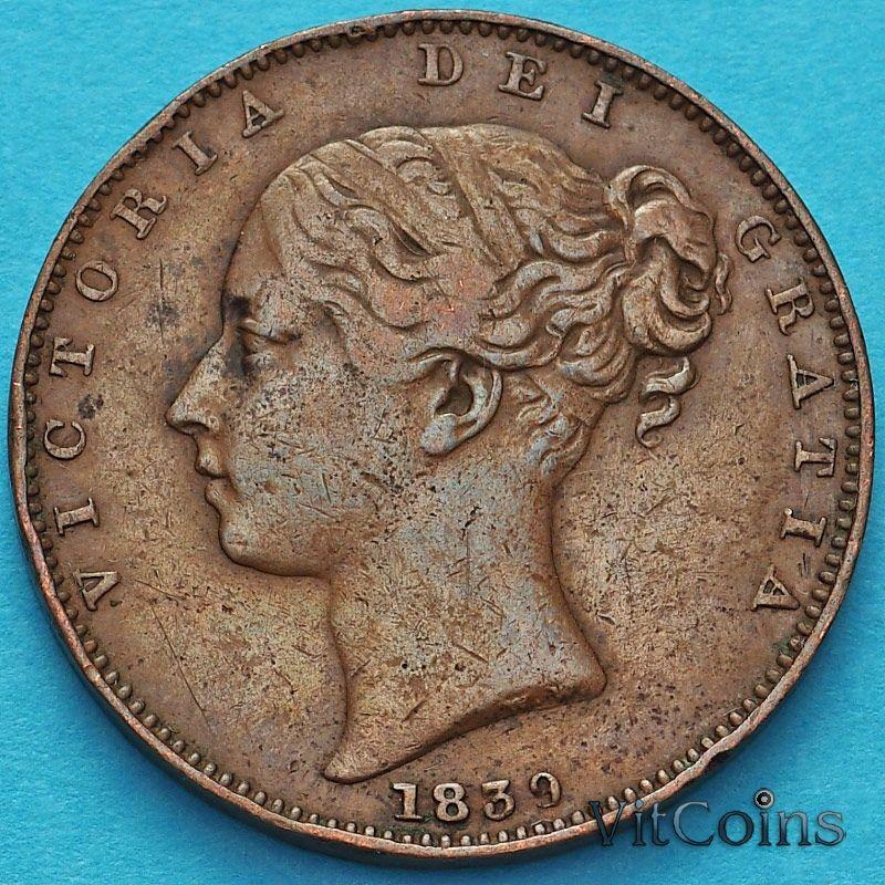 Монета Остров Мэн 1 фартинг 1839 год. №1