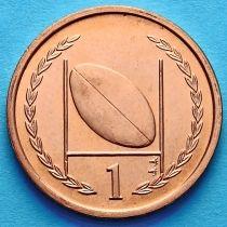 Остров Мэн 1 пенни 1997 год. Мяч для регби.