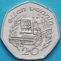 Остров Мэн 20 пенсов 1989 год. Комбайн.