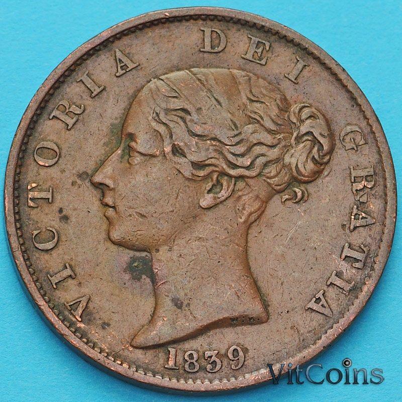 Монета Остров Мэн 1/2 пенни 1839 год. №2