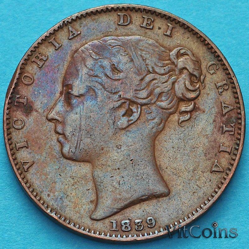 Монета Остров Мэн 1 фартинг 1839 год. №2