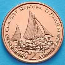 Лот 10 монет. Остров Мэн 2 пенса 2002 год. Парусник.
