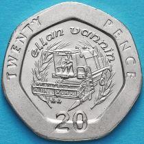 Остров Мэн 20 пенсов 1993 год. Комбайн, новый дизайн.