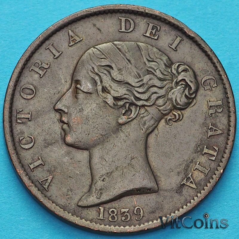 Монета Остров Мэн 1/2 пенни 1839 год. №3