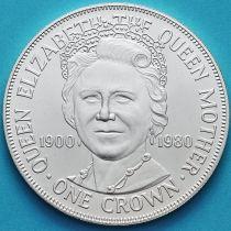 Остров Мэн 1 крона 1980 год. Королева-мать. Серебро.