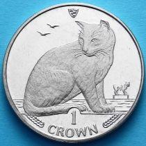 Остров Мэн 1 крона 1990 год. Уличная кошка