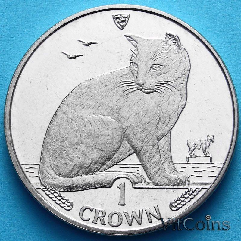 Монета Острова Мэн 1 крона 1990 год. Уличная кошка