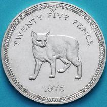 Остров Мэн 25 пенсов 1975 год. Мэнская кошка. Серебро