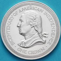 Остров Мэн 1 крона 1976 год. Джордж Вашингтон. Серебро