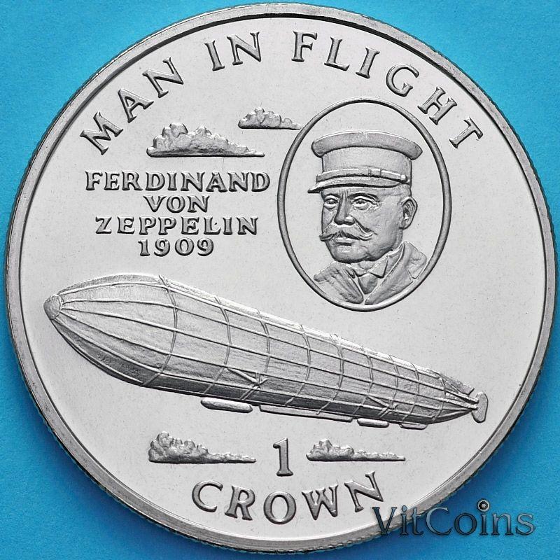 Монета Остров Мэн 1 крона 1994 год. Фердинанд фон Цеппелин.
