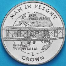 Остров Мэн 1 крона 1994 год. Первый полет из Англии в Австралию.