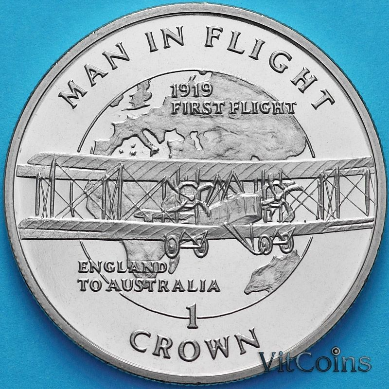 Монета Остров Мэн 1 крона 1994 год. Первый полет из Англии в Австралию