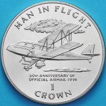 Остров Мэн 1 крона 1994 год. 60 лет авиапочте.