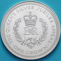 Остров Мэн 1 крона 1977 год. Серебрянный юбилей, монограмма. Серебро