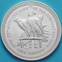 Остров Мэн 1 крона 1978 год. 25 лет коронации Королевы Елизаветы II. Серебро