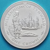 Остров Мэн 1 крона 1979 год. Ост-индский корабль. Серебро