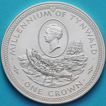 Остров Мэн 1 крона 1979 год. Сэр Уильям Хиллари и спасательная шлюпка. Серебро