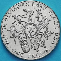Остров Мэн 1 крона 1980 год. Олимпиада, Лейк-Плэсид.