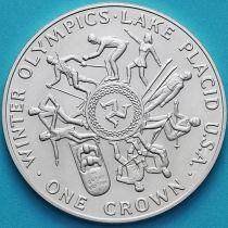 Остров Мэн 1 крона 1980 год. Олимпиада, Лейк-Плэсид. Серебро