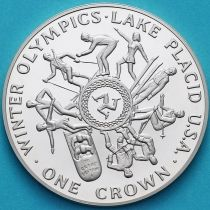 Остров Мэн 1 крона 1980 год. Олимпиада, Лейк-Плэсид. Серебро. Пруф