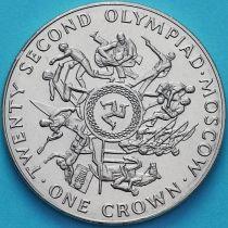 Остров Мэн 1 крона 1980 год. Олимпиада, Москва №3.