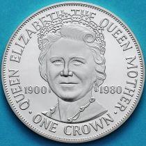 Остров Мэн 1 крона 1980 год. Королева-мать. Серебро. Пруф