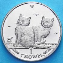 Остров Мэн 1 крона 2003 год. Балийская кошка. Два котенка