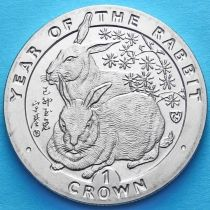 Остров Мэн 1 крона 1999 год. Год кролика