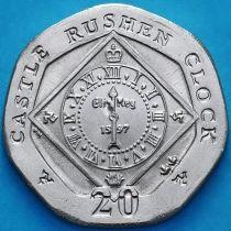 Остров Мэн 20 пенсов 2009 год. АА. Часы замка Рушен.