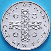 Остров Мэн 1 новый пенни 1975 год. Серебро.