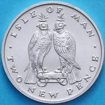 Остров Мэн 2 новых пенса 1975 год. Серебро.