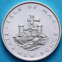 Остров Мэн 5 новых пенсов 1975 год. Серебро.