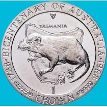 Остров Мэн 1 крона 1988 год. Тасмания. Тасманский дьявол.