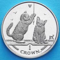 Остров Мэн 1 крона 2001 год. Сомалийская кошка.