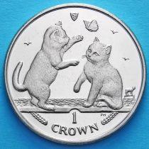 Остров Мэн 1 крона 2004 год. Тонкинская кошка.