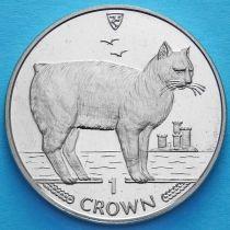 Остров Мэн 1 крона 1988 год. Кошки Мэнкс.