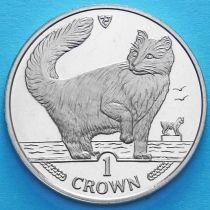 Остров Мэн 1 крона 1991 год. Норвежская лесная кошка.