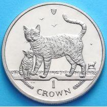 Остров Мэн 1 крона 2002 год. Бенгальская кошка