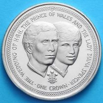 Остров Мэн 1 крона 1981 г. Чарльз и Диана