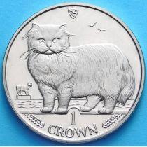 Остров Мэн 1 крона 1989 год. Персидская кошка