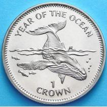 Остров Мэн 1 крона 1998 г. Горбатый кит