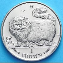 Остров Мэн 1 крона 1997 год. Длинношерстная дымчатая кошка