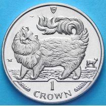 Остров Мэн 1 крона 1993 год. Кошка Мейн-кун.